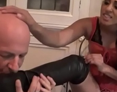 Indian Mistress Sahara Knite makes her sub lick her boots